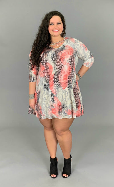 PQ-S {Always A Charmer} Coral Snakeskin Print Dress PLUS SIZE 1X 2X 3X