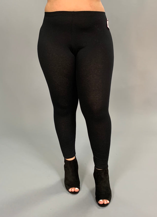 BT/I- BOZZOLO Black Leggings 95% Cotton/5% Spandex PLUS SIZE