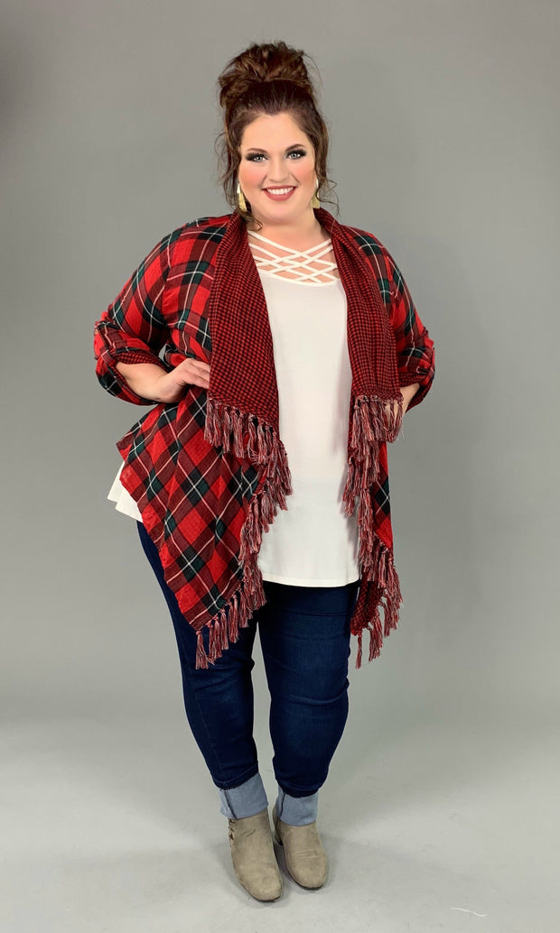 "OT-W ""UMGEE"" Red Plaid Cardigan with Roll-Tab Sleeves"