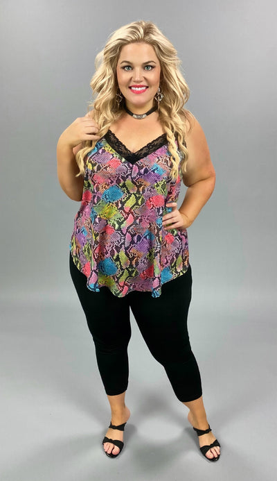 SV-X {Colorful Moments} Multi Color Snakeskin Camisole PLUS SIZE 1X 2X 3X