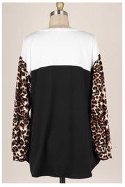 CP-R {Always Daring} Ivory Black Leopard  Sleeve Tunic EXTENDED PLUS SIZE 4X 5X 6X