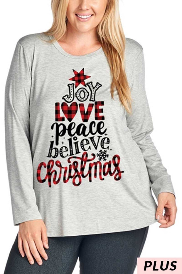 "36 GT-C {Joy Christmas} SALE!!  ""Joy Love Peace Believe""Top PLUS SIZE XL 2X 3X"