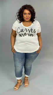 GT-X Ivory {Curves Are In} Graphic V-Neck Top FLASH SALE!!