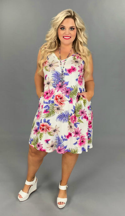 SV-I {Better In Flip Flops} Pink/Coral/Lilac Floral Dress PLUS SIZE 1X 2X 3X