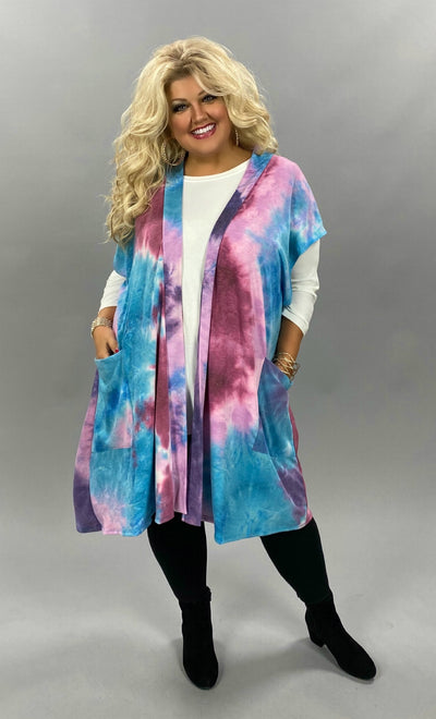 OT-Z {Lucky Together} SALE!!  Purple Blue Mauve Tie Dye Knit Vest CURVY BRAND EXTENDED PLUS SIZE 3X 4X 5X 6X