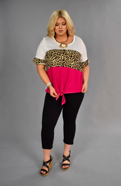 CP-B {Keep Smiling} Fuchsia/Leopard Contrast Top