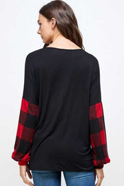 15 CP-H {Glitter Queen} Black Red Plaid Gold Pocket Top PLUS SIZE XL 2X 3X