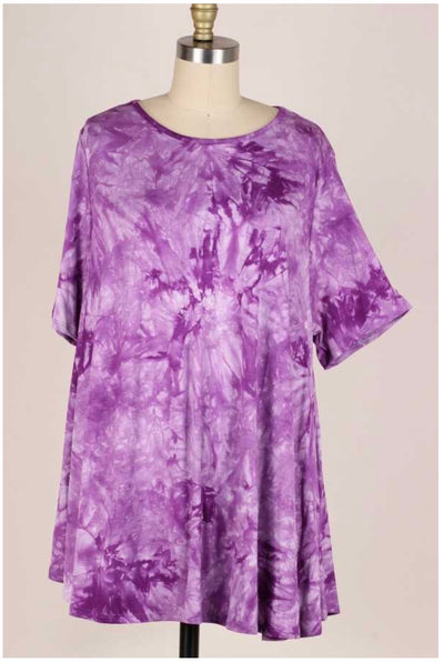 54 PSS-U {Purple Passion} Purple Tie Dye Tunic EXTENDED PLUS SIZE  3X 4X 5X