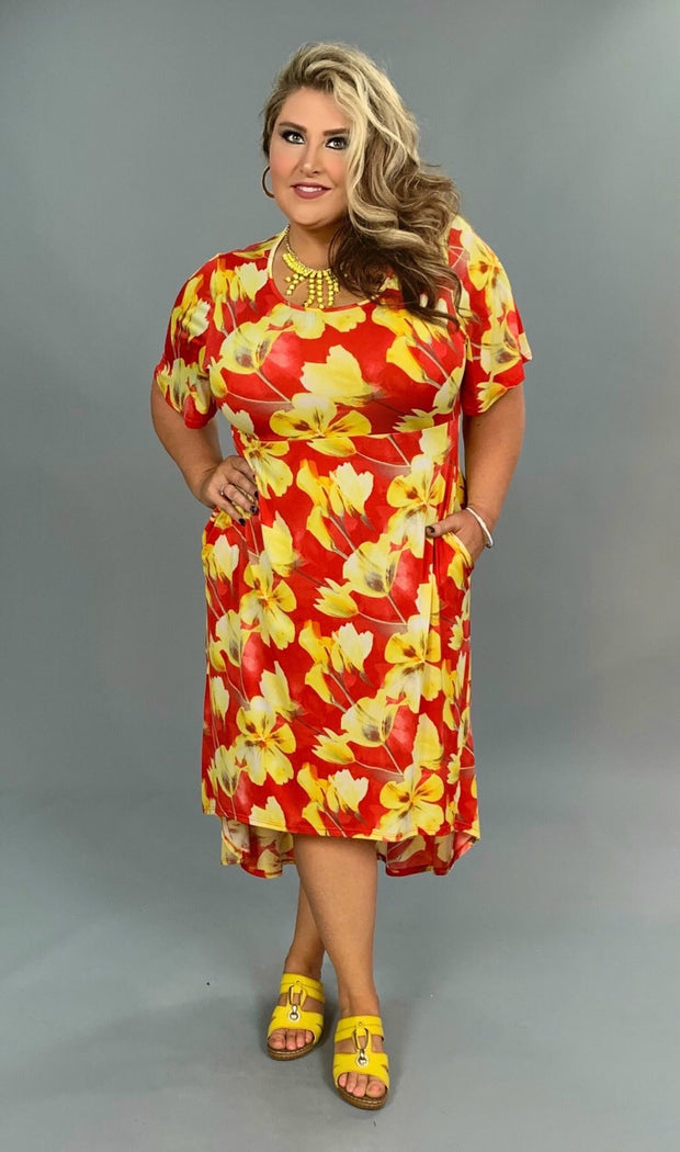 LD-B {Time To Get Happy} Red/Yellow Floral Hi-Lo Dress