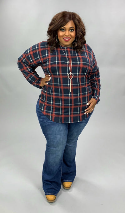 PLS-A {Season Desires} Navy Rust Plaid Long Sleeve Tunic EXTENDED PLUS SIZE 3X 4X 5X