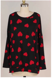 GT-C {I Heart You} Black Red Heart Print Long Sleeve Top  EXTENDED PLUS SIZE 4X 5X 6X
