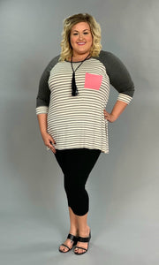 CP-K Striped Top Charcoal 3/4 Sleeves & Pink Pocket