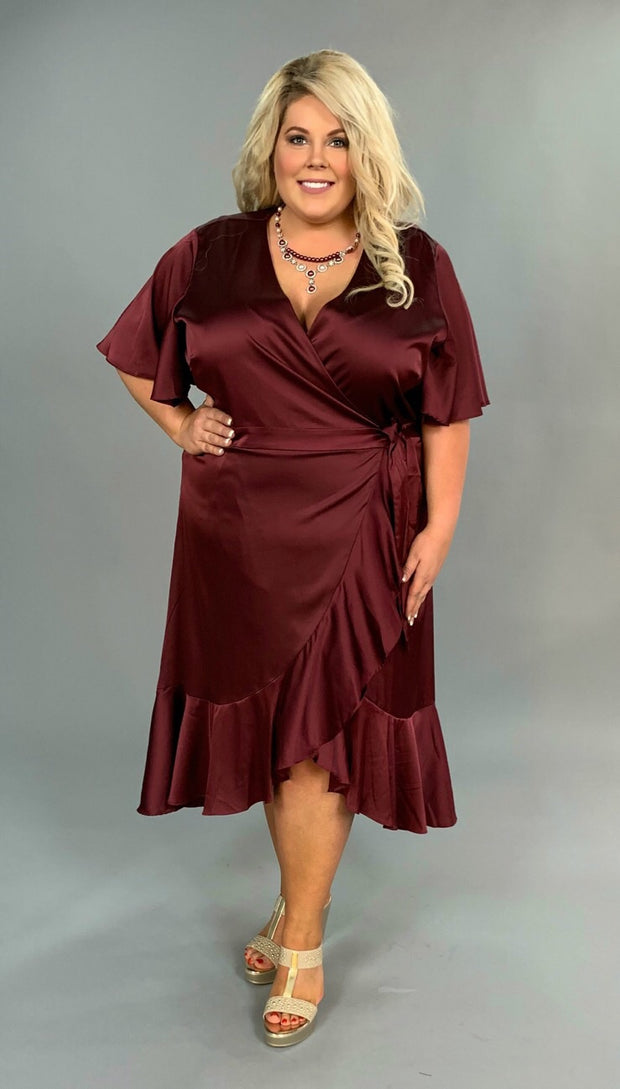 LD-U {Dinner At Sunset}  SALE!! Cabernet Satin Wrap Dress SALE!!