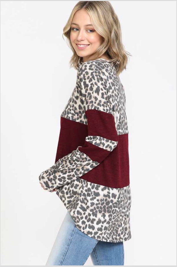 37 CP-G {This Time Around}  SALE!! Leopard Maroon Contrast Top PLUS SIZE XL 2X 3X