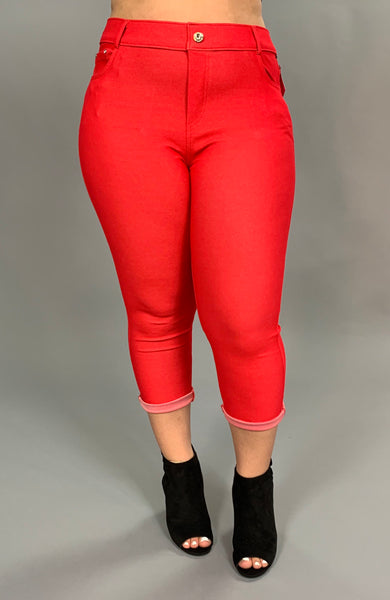 BT-W Red Jeggings Rhinestone Button Detail