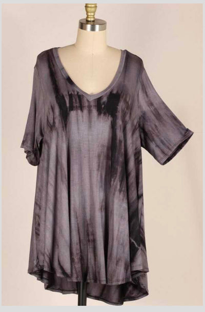 PSS-A {Gray Skies} Charcoal Tie-Dye Tunic EXTENDED PLUS SIZE 3X 4X 5X