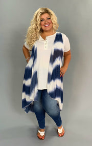 OT-P {Time Of My Life} Navy Tie-Dye Print Hi-Lo Vest Extended Plus