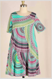 PSS-C {Feeling Bright} Multi Color Geometric Print Dress *SALE!!* PLUS SIZE 1X 2X 3X SALE!!