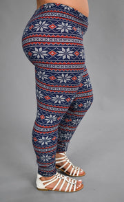 LEG-J Blueberry/Frost Snowflake Printed Leggings