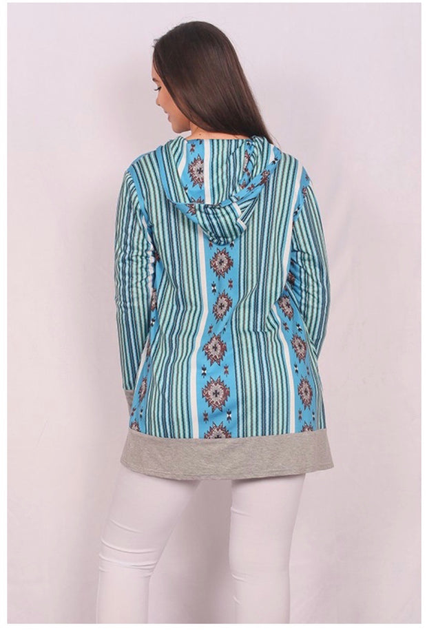 OT-K (New Adventure) Multi color Cardigan W/ Hood PLUS SIZE 2X/3X