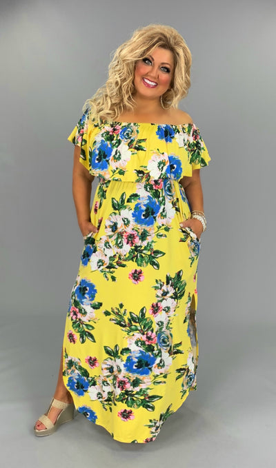 LD-N/B {Mad About Saffron} Yellow Floral Maxi Dress PLUS SIZE 1X 2X 3X