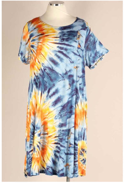 49 PSS-K {Feelin' Beachy} Blue Orange Tie Dye Dress EXTENDED PLUS SIZE 3X 4X 5X