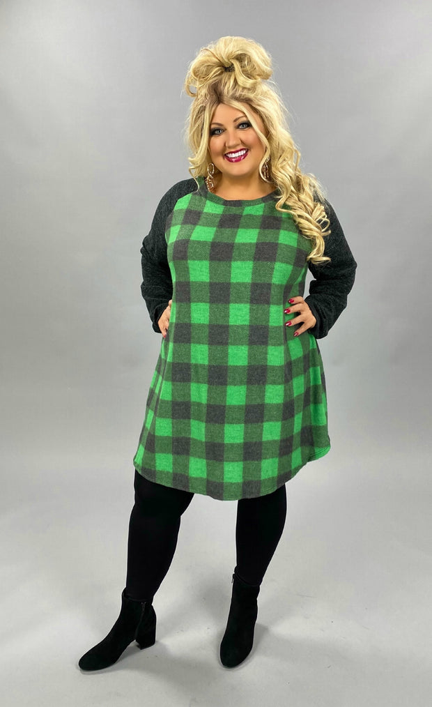 14 CP-F {Lovers Lane} Green Black Plaid Tunic EXTENDED PLUS SIZE 4X 5X 6X