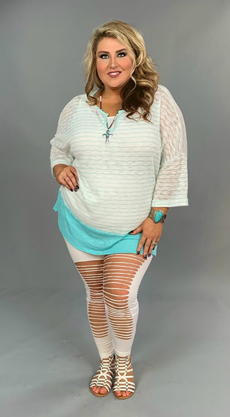 PQ-S {Let's Do Lunch} Mint/White Soft Knit V-Neck Tunic