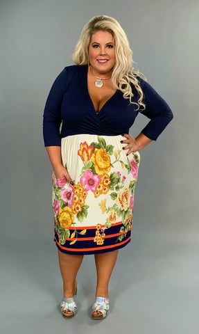 LD-F {Instant Classic} *Navy Floral Dress w/Belt & Pockets
