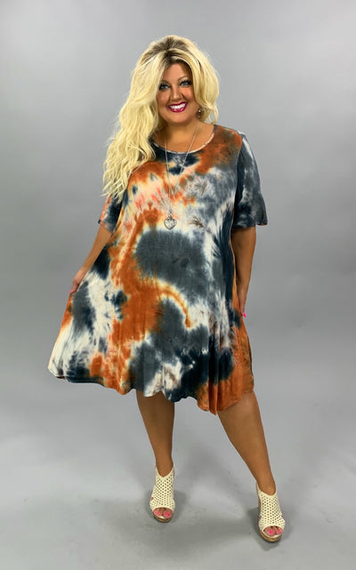 PSS-O {Fall Feelings} Navy & Burnt Orange Tie Dye Dress EXTENDED PLUS SIZE 4X 5X 6X