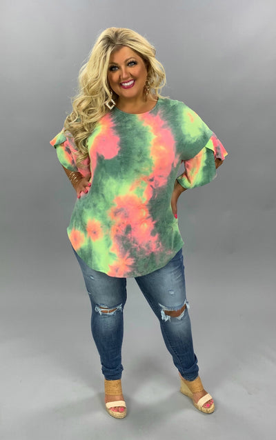 PSS-X {What I Need} Green Pink Yellow Tie Dye Tunic PLUS SIZE 1X 2X 3X