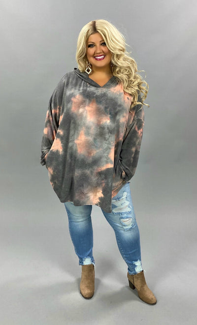 10-13 HD-C {Hiss & Tell} Grey Coral Tie Dye Hoodie  CURVY BRAND EXTENDED PLUS SIZE 3X 4X 5X 6X