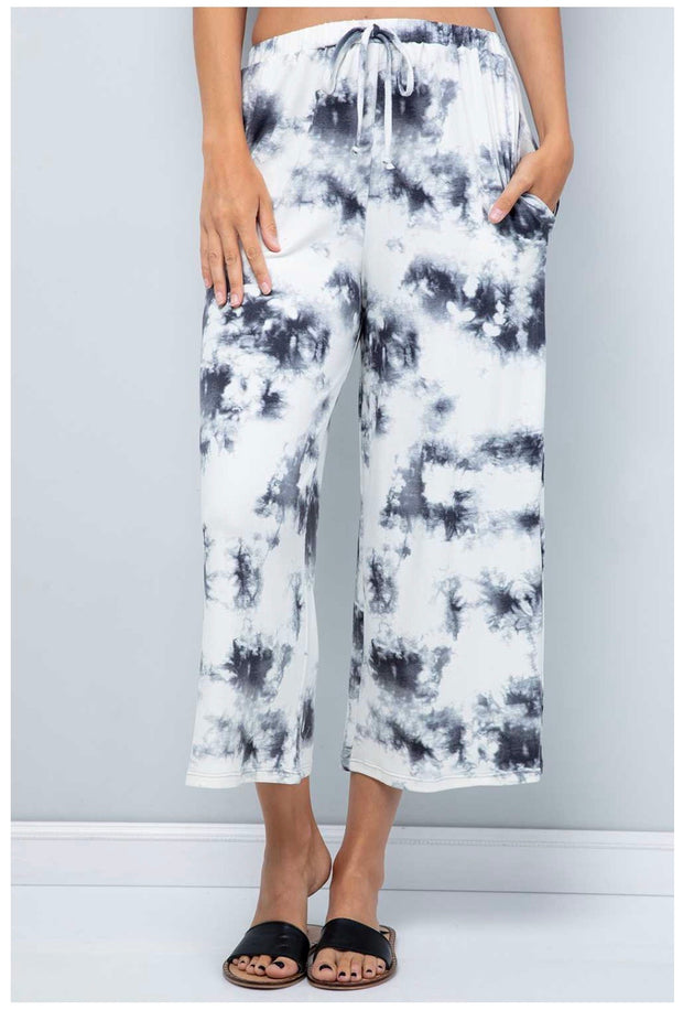 BT-R {Touch Of Ink} Ivory/Navy Tie Dye Wide Leg Lounge Pants PLUS SIZE 1X 2X 3X SALE!!