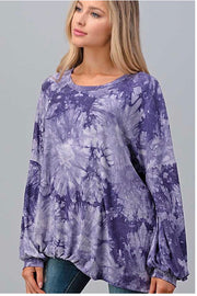 PLS-M {Lavender Fields} Lavender Tie Dye Knot Hem Top PLUS SIZE XL 2X 3X