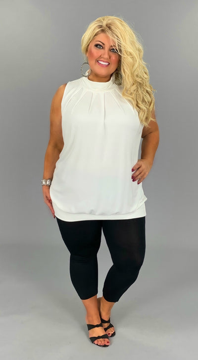 SV-H (Effortless Fun) Ivory Pleated Top With Banded Hem PLUS SIZE 1X 2X 3X