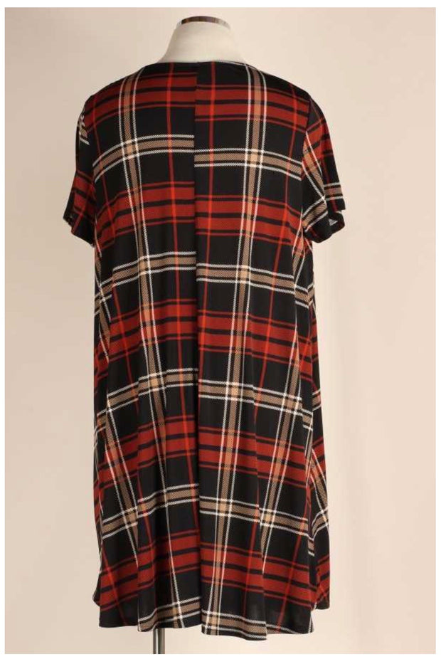 PSS-I {Fall Blessings} Black & Rust Plaid Print Dress EXTENDED PLUS SIZE 3X 4X 5X