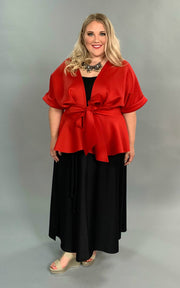 OT-M {Have It All} Red Cardigan with Front Tie Closure