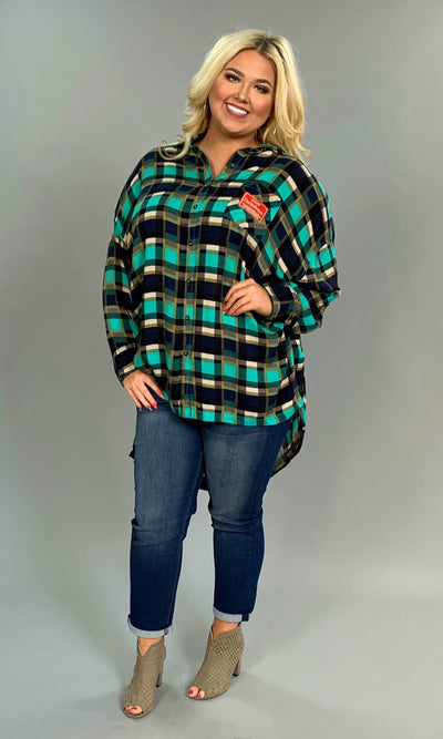 "PLS-T ""UMGEE"" Emerald Plaid Oversized Top"