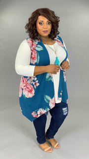 OT-P (Spring Time In The City) Teal Vest With Floral Pattern EXTENDED PLUS 3X 4X 5X