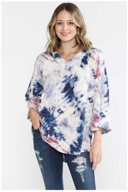 PQ-Z {Like We Used To} Blue & PInk Tie Dye V-Neck Top EXTENDED PLUS SIZE 4X 5X 6X