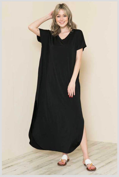 LD-B {Calm & Collected} Black Maxi Dress w Side Slits Plus Size XL 2X 3X