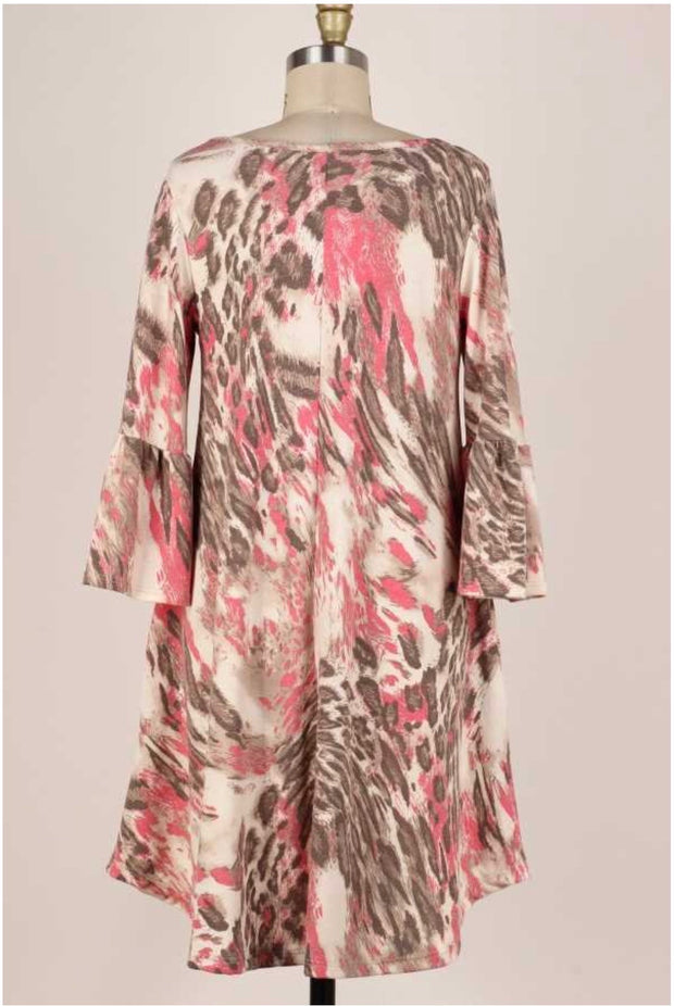 50 PQ-A {All In Good Fun}  Pink Brown Leopard Print PLUS SIZE 1X 2X 3X