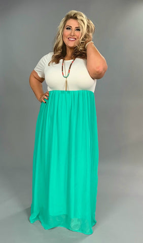 LD-A {Sweetest Delight} Off-White/Mint Maxi Dress with Lining