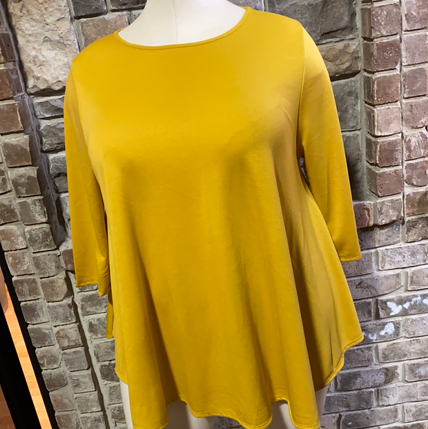 28 SLS-K {Simple Day}  SALE!! Mustard Solid Tunic EXTENDED PLUS SIZE 3X 4X 5X