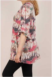 49 PSS-J {Have Mercy} Beige Red Grey Abstract Print Tunic PLUS SIZE XL 2X 3X