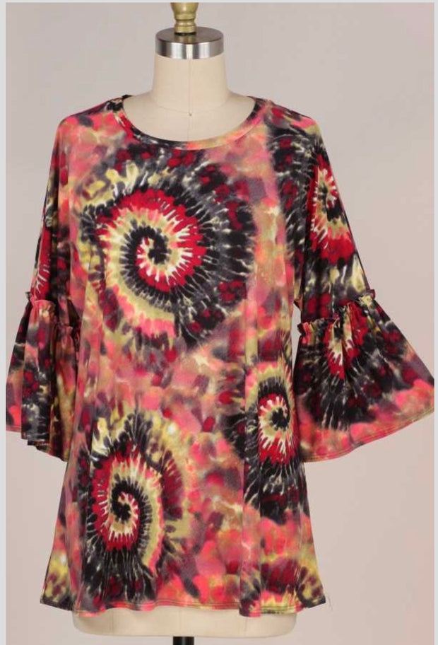 49 PQ-E {Midnight Rendezvous} Purple Red Tie Dye Top PLUS SIZE XL 2X 3X