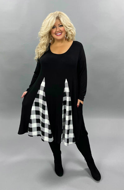 36 CP-E {Edge Of Love}  SALE!! Black With Plaid Triangle Dress CURVY BRAND EXTENDED PLUS SIZE 3X 4X 5X 6X