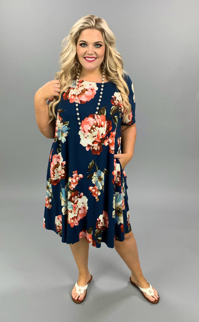 PSS-E {Dressed In My Best} Navy Dress With Blue Floral Print EXTENDED PLUS SIZE 3X 4X 5X