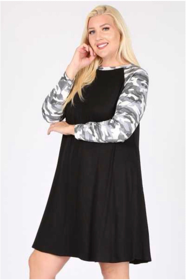 10-02 CP-A {At Ease} Grey Black With Camo Dress With Mask EXTENDED PLUS SIZE 3X 4X 5X