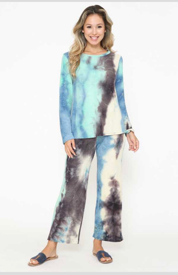 SET-D {Simple & Easy} Blue Mint Tie Dye Soft Knit Lounge Set PLUS SIZE XL 2X 3X